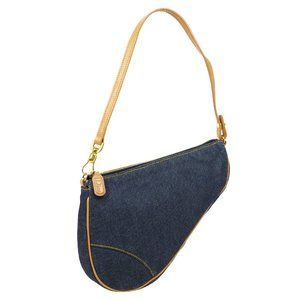 Christian Dior Saddle Hand Bag Pouch Indigo Brown